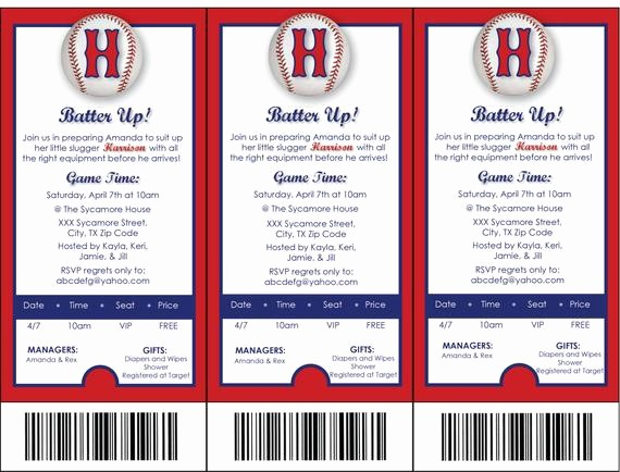 Baseball Ticket Invitation Template Free Elegant Items Similar to Printable Baseball themed Baby Shower