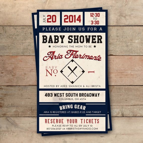 Baseball Ticket Invitation Template Free Fresh Vintage Baseball Ticket Baby Shower Invitation Personalized