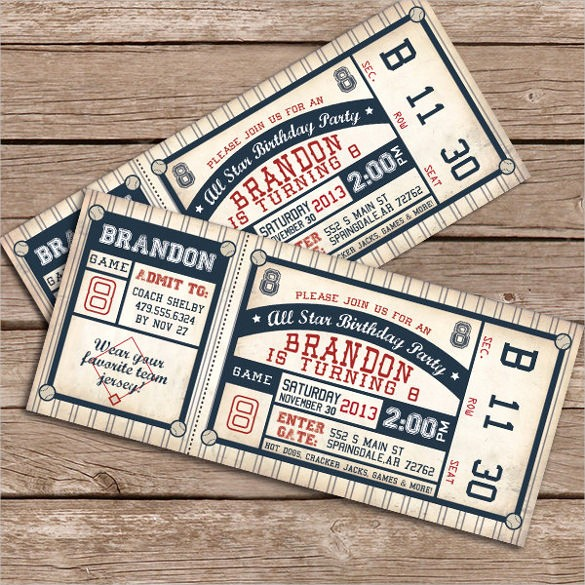 Baseball Ticket Invitation Template Free Inspirational 21 Baseball Birthday Invitation Templates – Free Sample