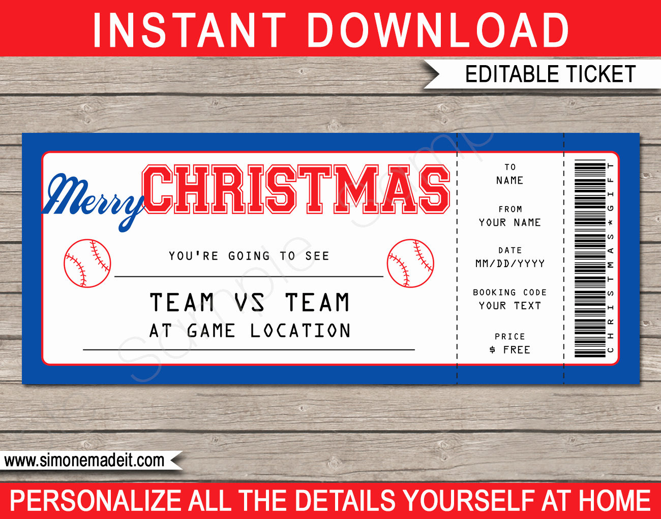 Baseball Ticket Invitation Template Free Inspirational Christmas Baseball Gift Ticket