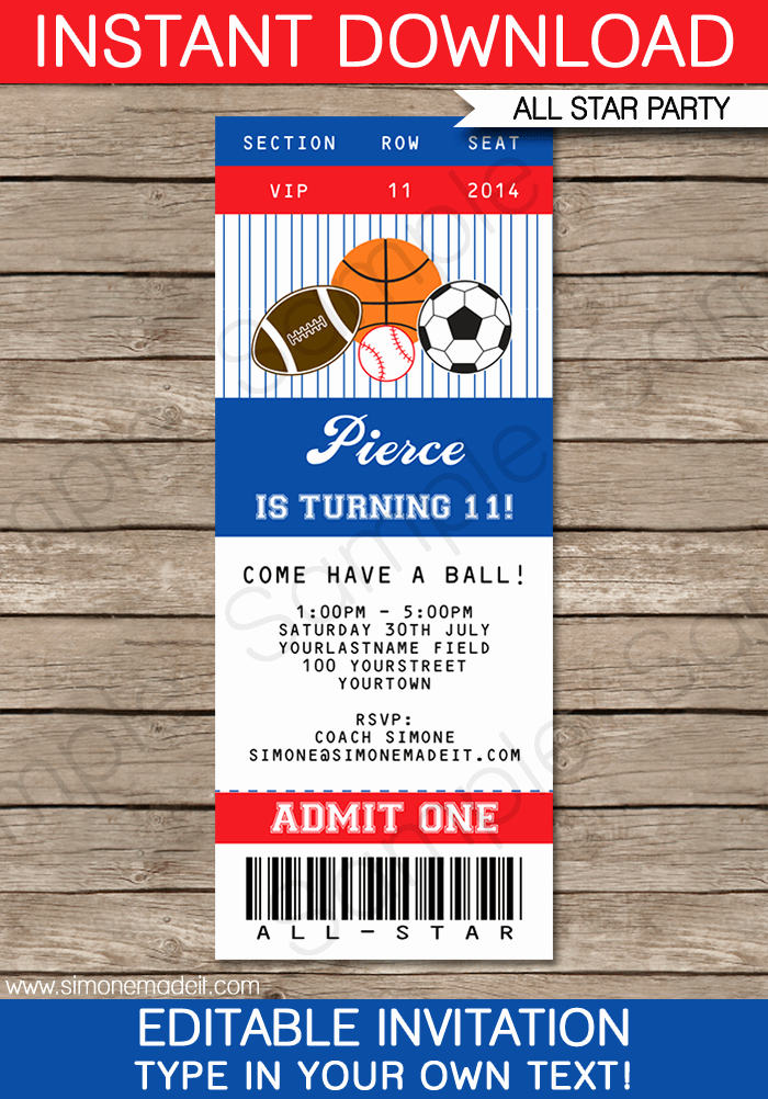 Baseball Ticket Invitation Template Free Lovely All Star Sports Ticket Invitations