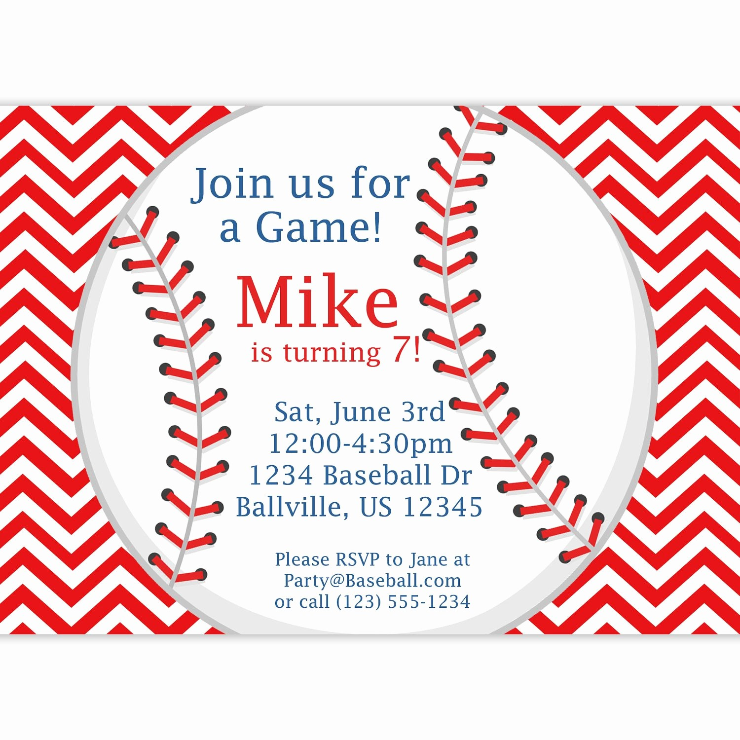 Baseball Ticket Invitation Template Free Lovely Baseball Invitation Red Stripe Chevron Baseball Ball
