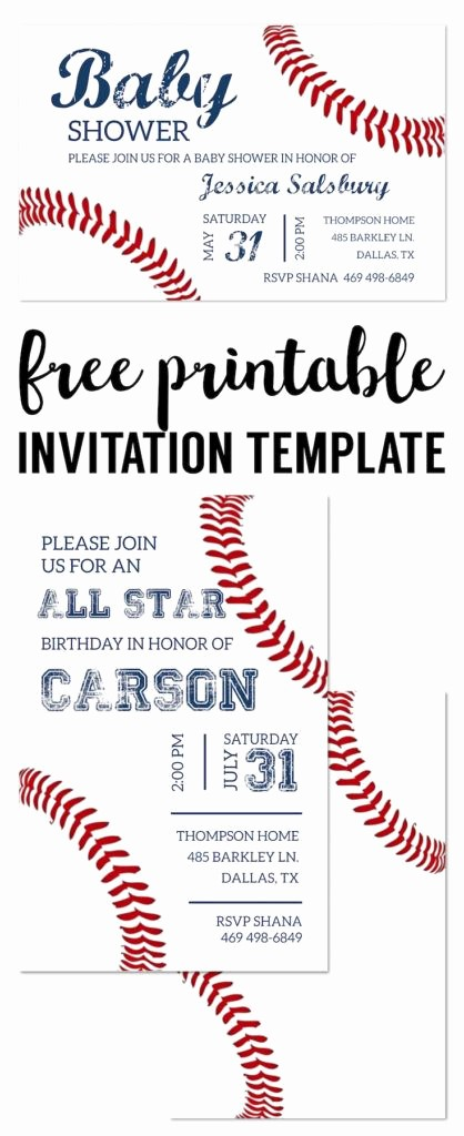 Baseball Ticket Invitation Template Free Lovely Baseball Party Invitations Free Printable
