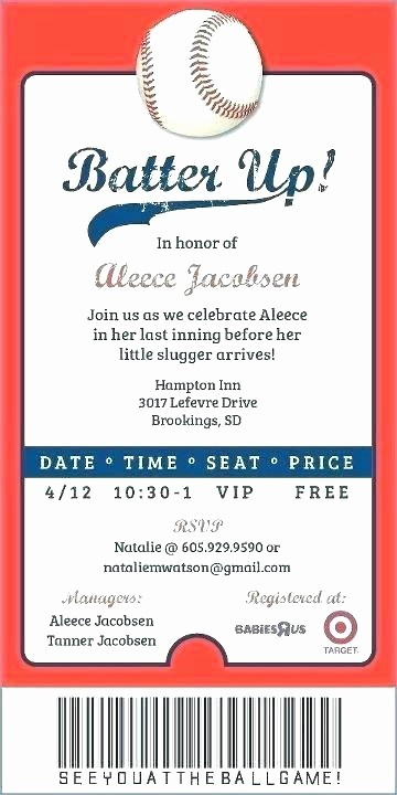 Baseball Ticket Invitation Template Free Lovely Blank Baseball Invitations – Untitledo