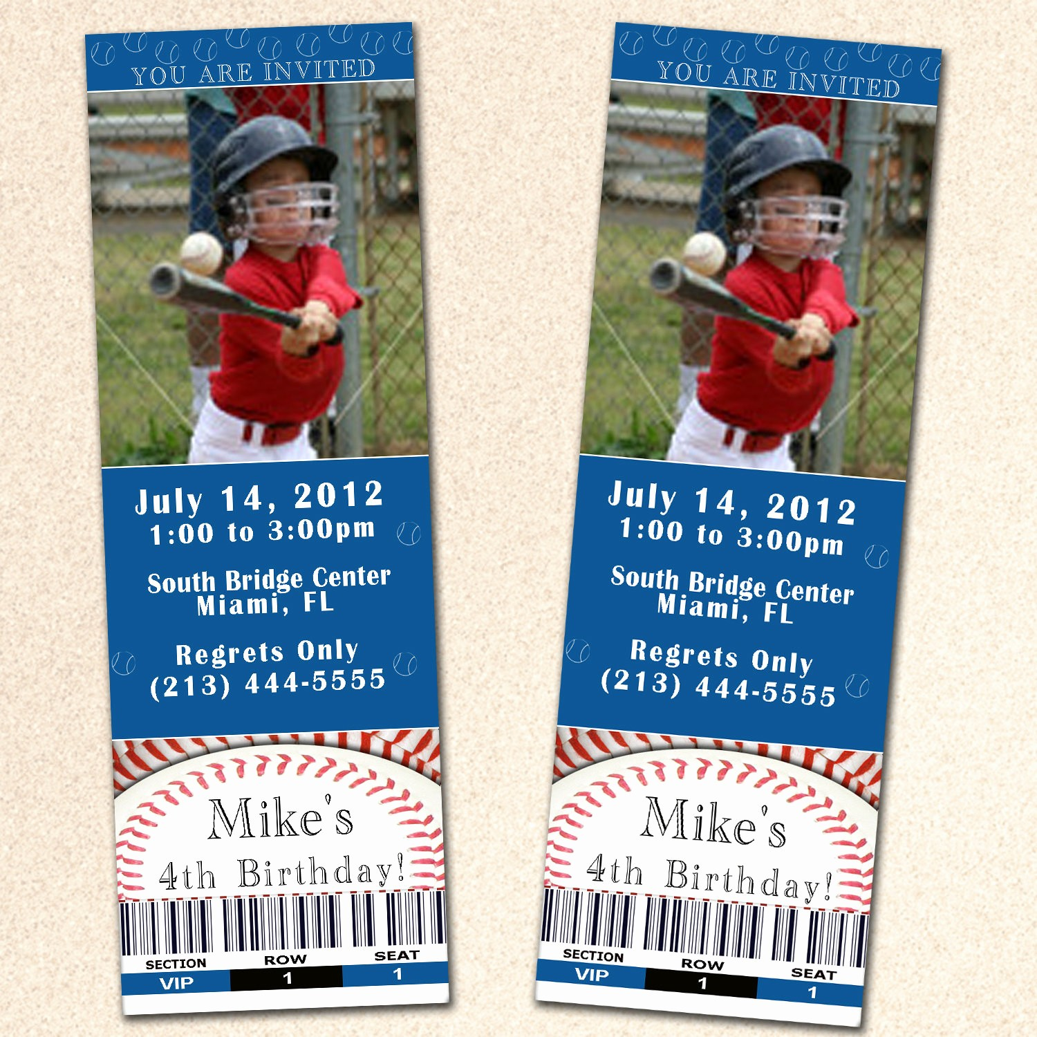 Baseball Ticket Invitation Template Free Luxury Baseball Birthday Invitation Ticket Boy Blue Sport by