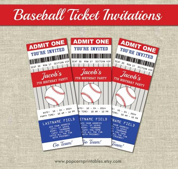Baseball Ticket Invitation Template Free Luxury Baseball Ticket Invitations Printables Editable Text Pdf