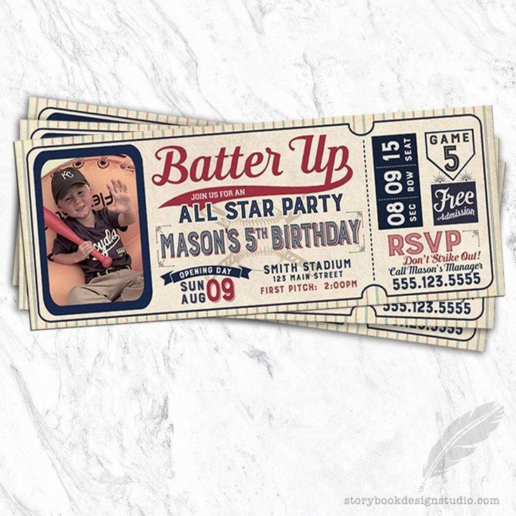Baseball Ticket Invitation Template Free Luxury Best 25 Baseball Party Invitations Ideas On Pinterest