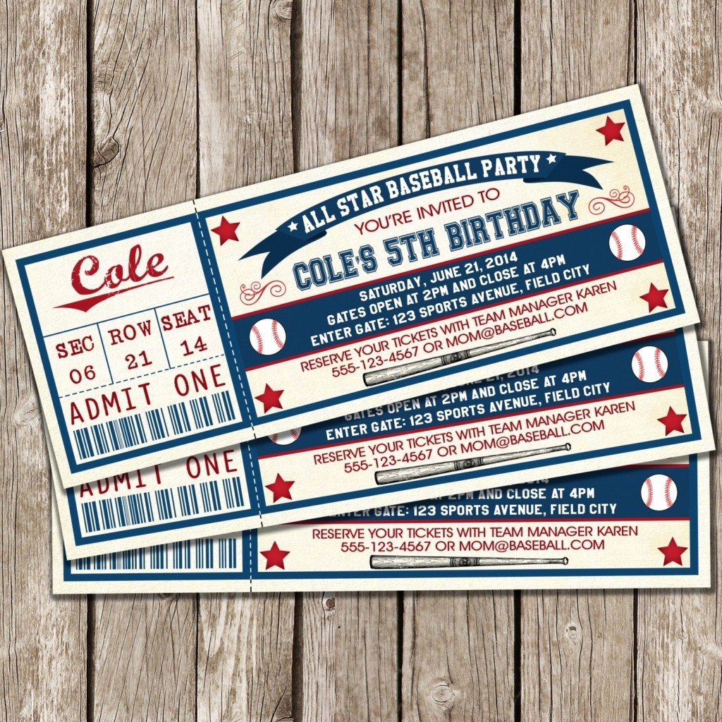 Baseball Ticket Invitation Template Free New Baseball Ticket Invitation Template Free