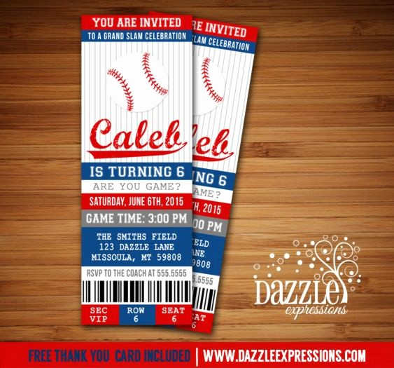 Baseball Ticket Invitation Template Free New Free Thank You Cards Ideas Baby Showers and Birthday