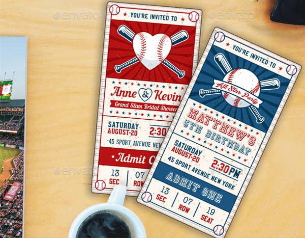 Baseball Ticket Invitation Template Free Unique 10 Baseball Party Invitations