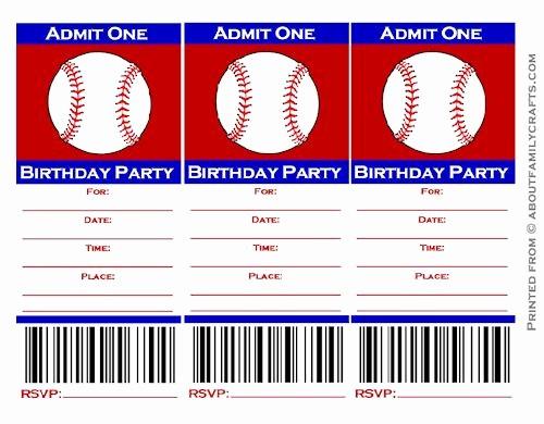 Baseball Ticket Invitation Template Free Unique 9 Best Of Free Baseball Printable Invitation