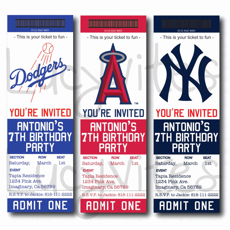 Baseball Ticket Invitation Template Free Unique Baseball Game Ticket Template Templates Data