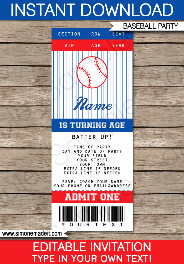 Baseball Ticket Invitation Template Free Unique Baseball Ticket Invitation Template