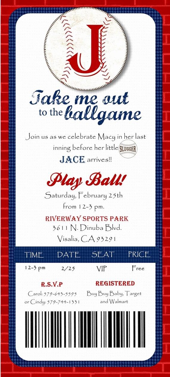Baseball Ticket Invitation Template Free Unique Custom Printed Baseball Ticket Shower or by Joyinvitations