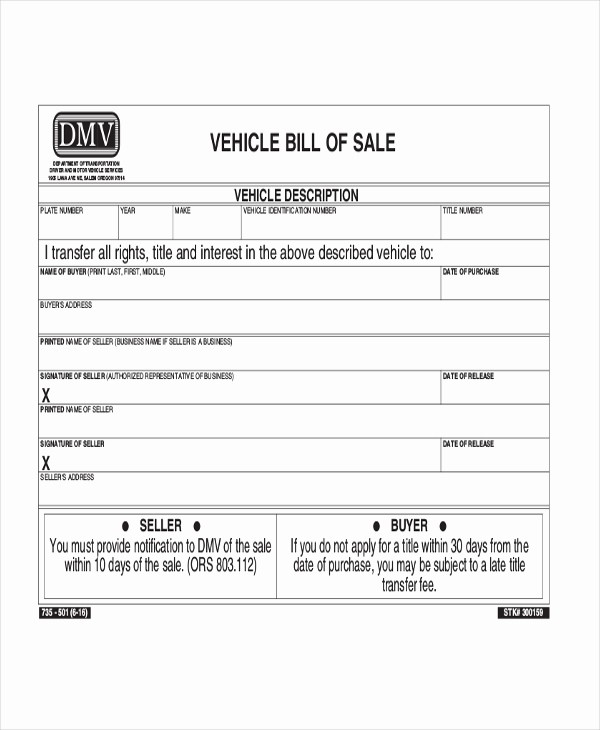 bill of sale for car