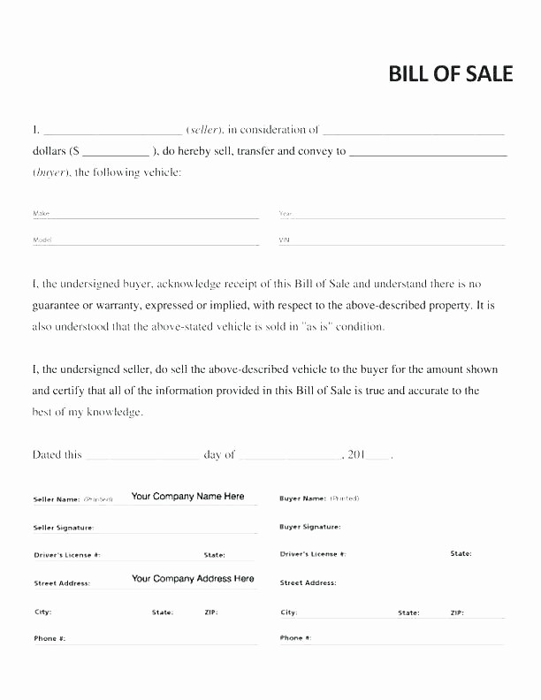 Basic Auto Bill Of Sale Fresh Blank Bill Sale Basic form Printable Template Beautiful
