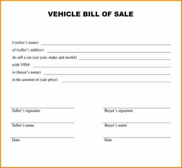Basic Auto Bill Of Sale Lovely 8 Receipt for Car Sale