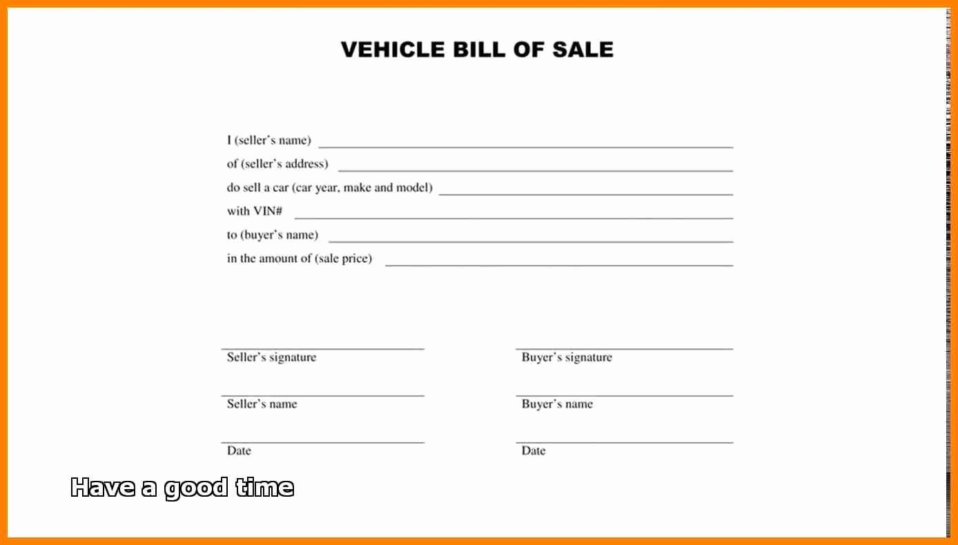 Basic Auto Bill Of Sale New Bill Sale form – Free Download for Vehicle Property