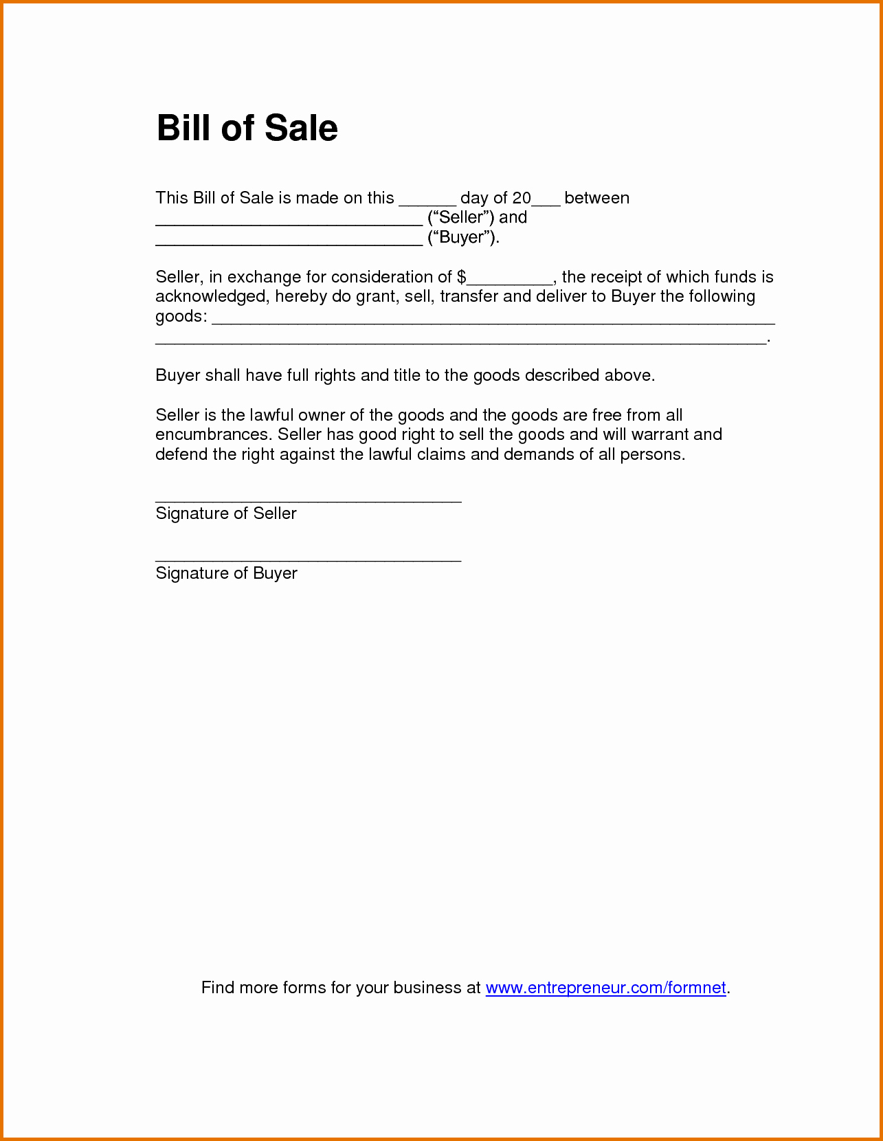 Basic Automobile Bill Of Sale Beautiful 8 Bill Of Sale Template Pdfreference Letters Words