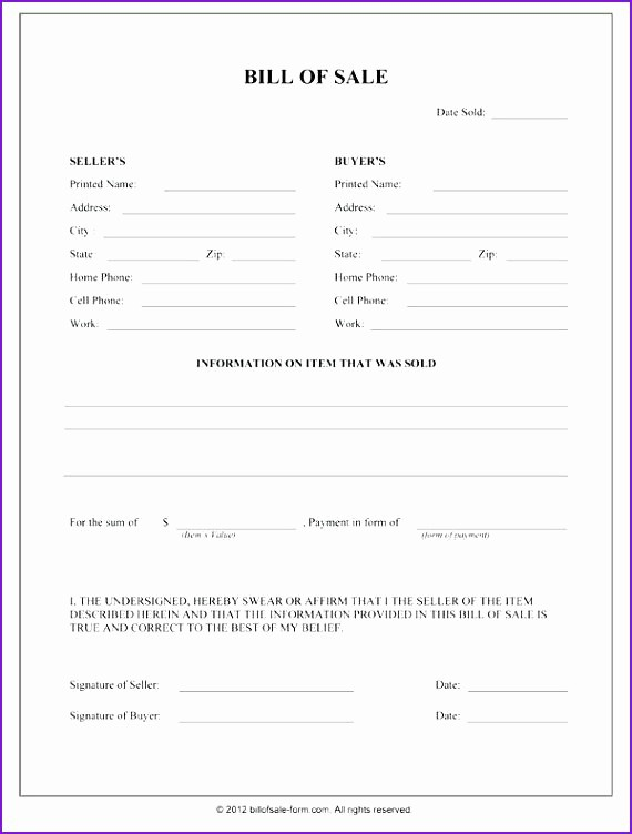 Basic Automobile Bill Of Sale Beautiful Free Bill Sale for Trailer Printable Blank Template
