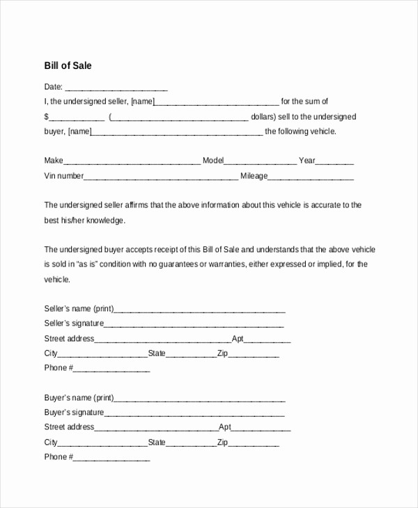 Basic Automobile Bill Of Sale Best Of Sample Bill Of Sale forms 22 Free Documents In Word Pdf