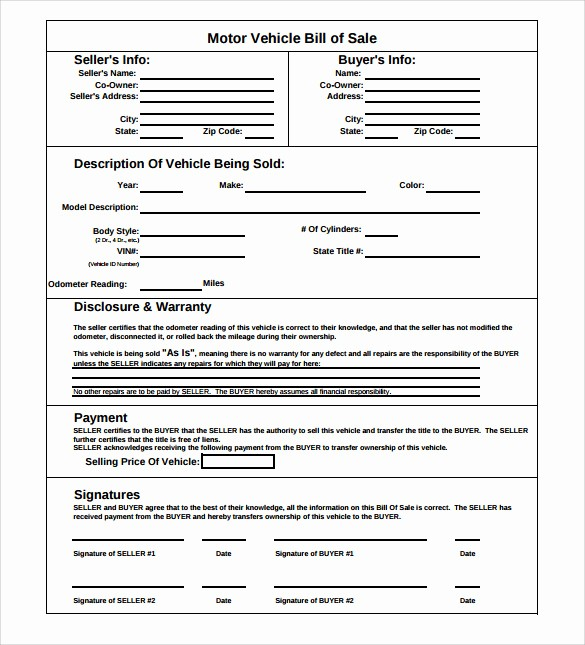 Basic Automobile Bill Of Sale Elegant 8 Car Bill Of Sale Templates for Legal Purposes Download