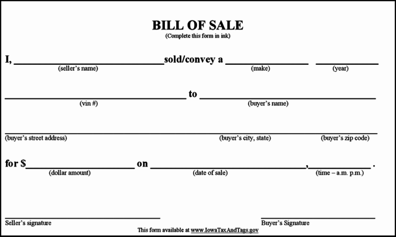 Basic Automobile Bill Of Sale Elegant Bill Of Sale form Template