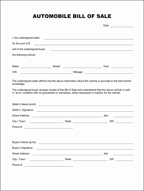Basic Automobile Bill Of Sale New Free Printable Auto Bill Of Sale form Generic