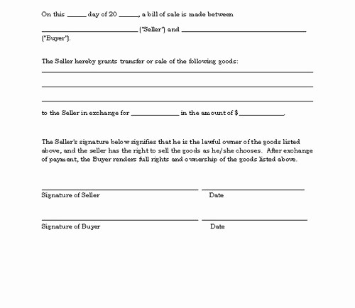 Basic Bill Of Sale Template Awesome 96 Simple Automotive Bill Sale Simple Automotive