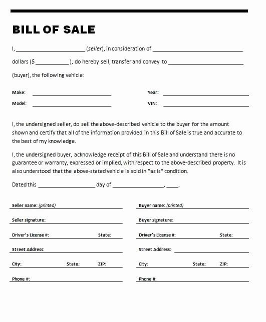 Basic Bill Of Sale Template Beautiful 7 Bill Of Sale Templates Word Excel Pdf Templates
