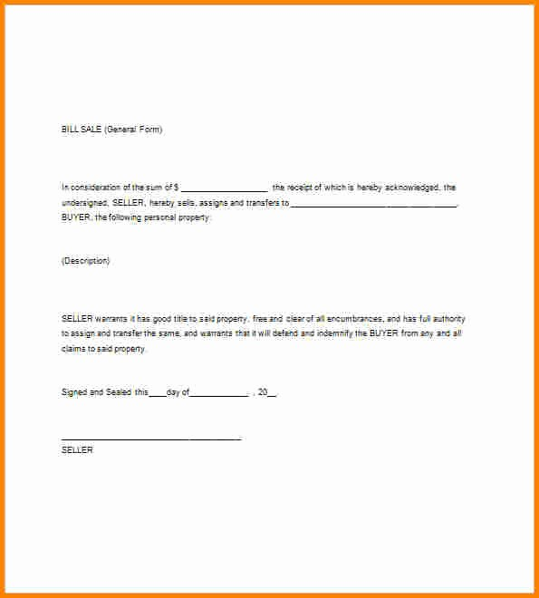 Basic Bill Of Sale Template Best Of 8 Bill Of Sale Simple Template