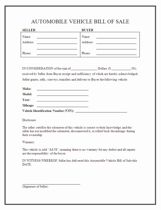 Basic Bill Of Sale Template Unique Printable Sample Free Car Bill Of Sale Template form