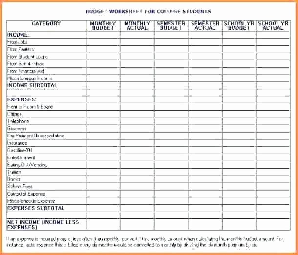 Basic Budget Worksheet College Student Beautiful College Student Bud Spreadsheet Excel Worksheet