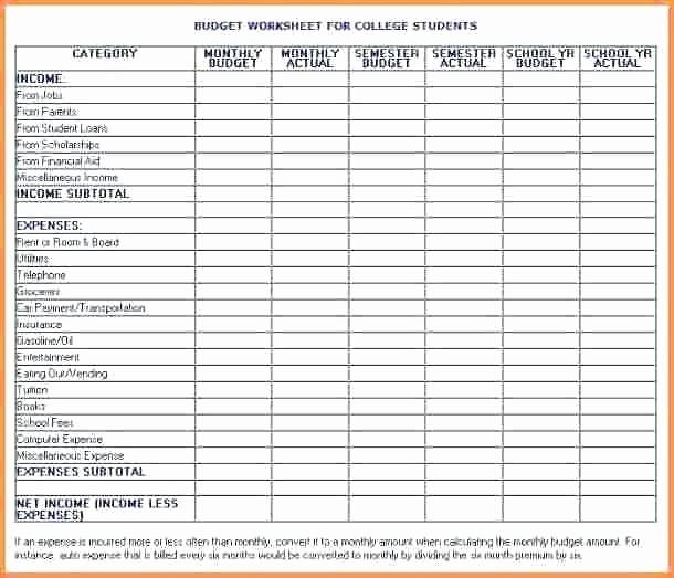 Basic Budget Worksheet College Student Beautiful College Student Bud Spreadsheet Excel Worksheet