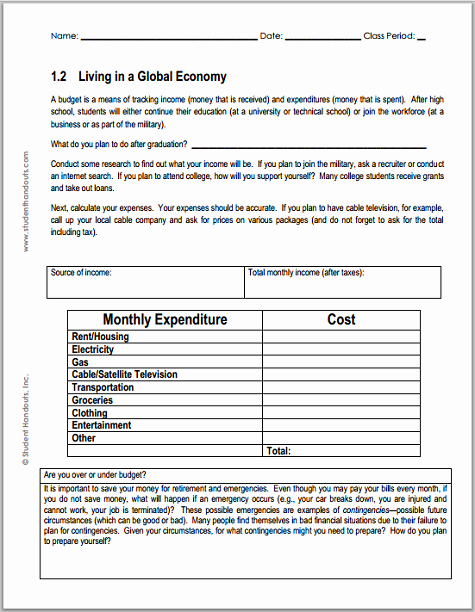 Basic Budget Worksheet College Student Best Of Monthly Bud Worksheet for Economics
