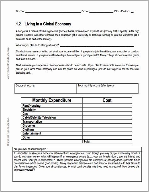 Basic Budget Worksheet College Student Best Of Monthly Bud Worksheet for Economics