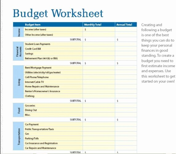 Basic Budget Worksheet College Student Fresh Bud Money Funk