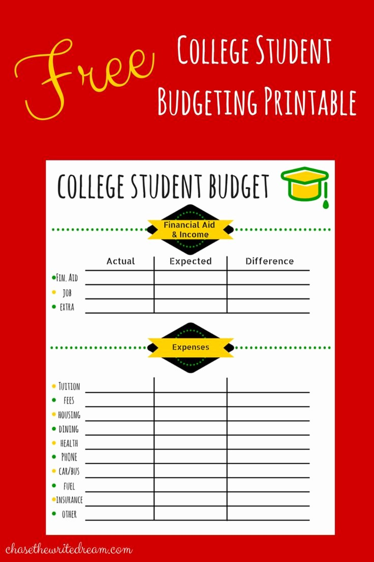 Basic Budget Worksheet College Student Luxury College Bud Template Free Printable for Students