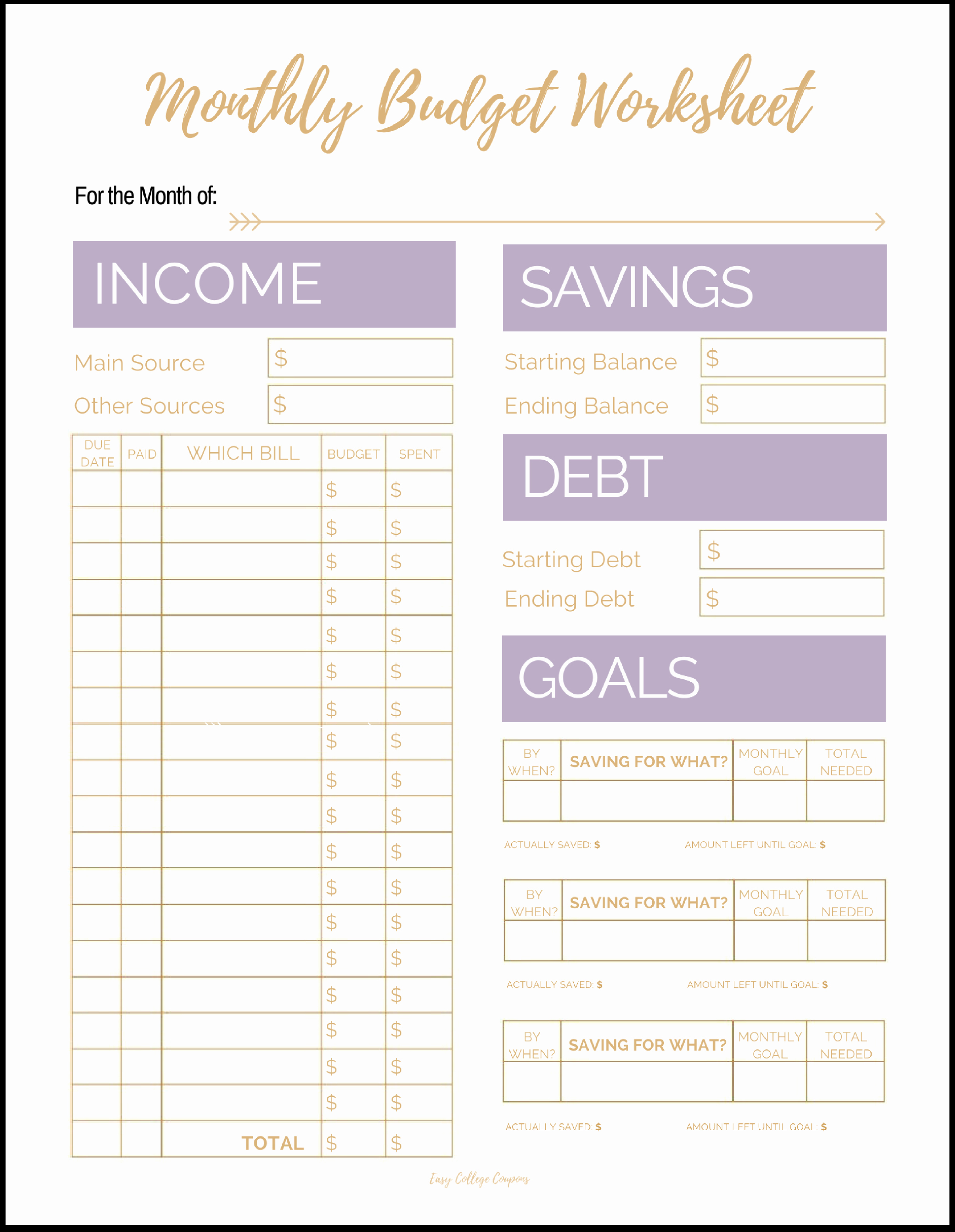 Basic Budget Worksheet College Student New Free Printable Monthly Bud Template