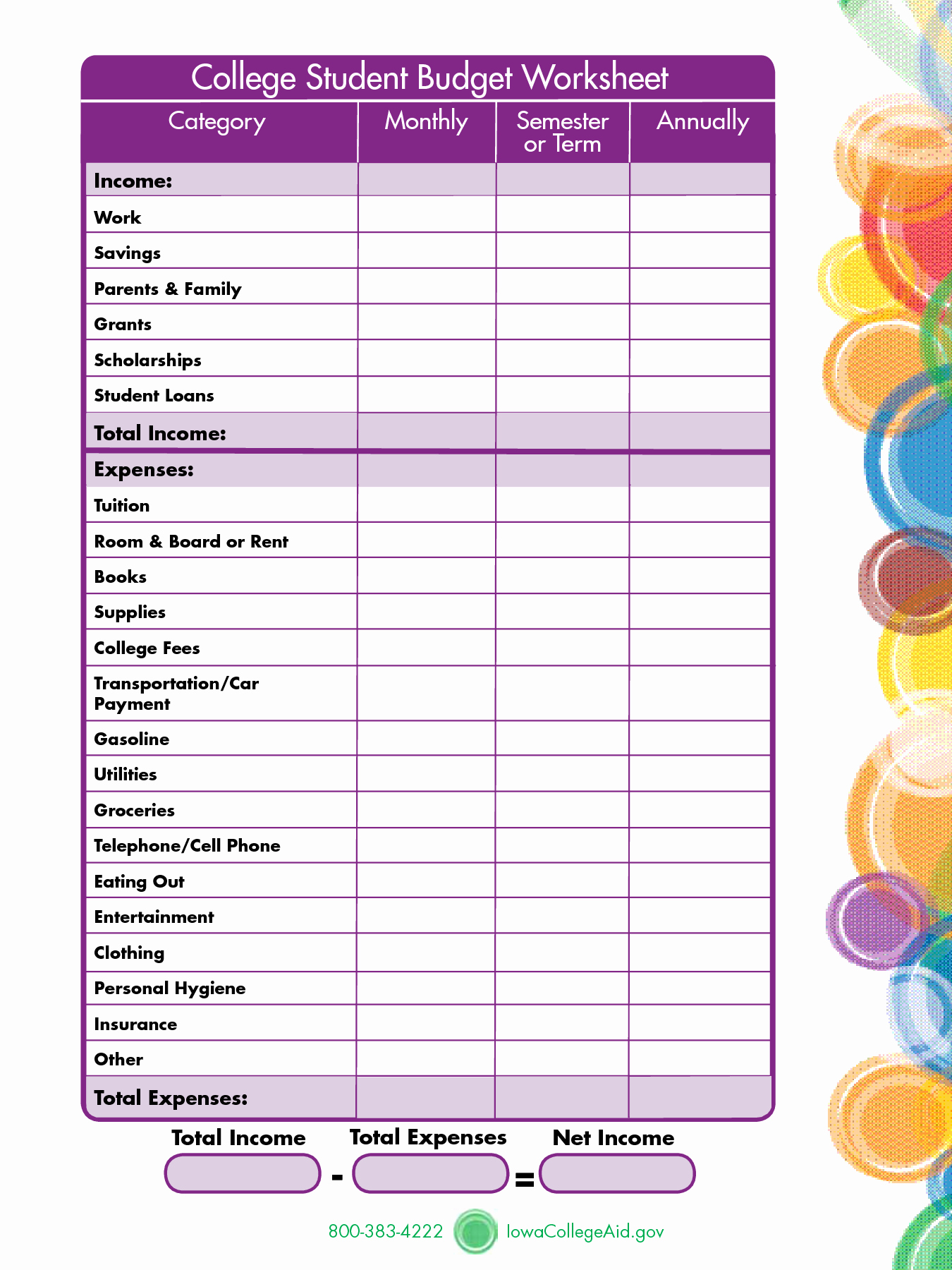 Basic Budget Worksheet College Student Unique 7 Best Of Printables for College Students College