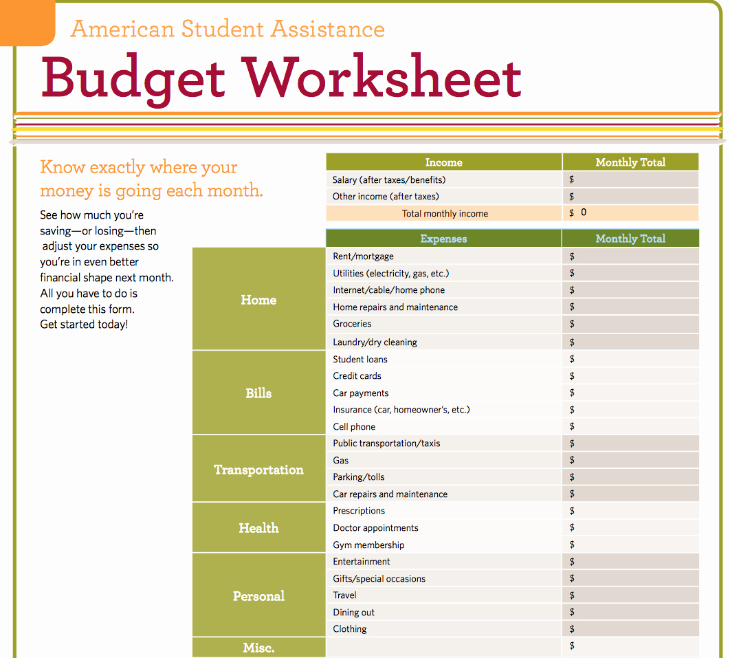 Basic Budget Worksheet College Student Unique 9 Useful Bud Worksheets that are Free