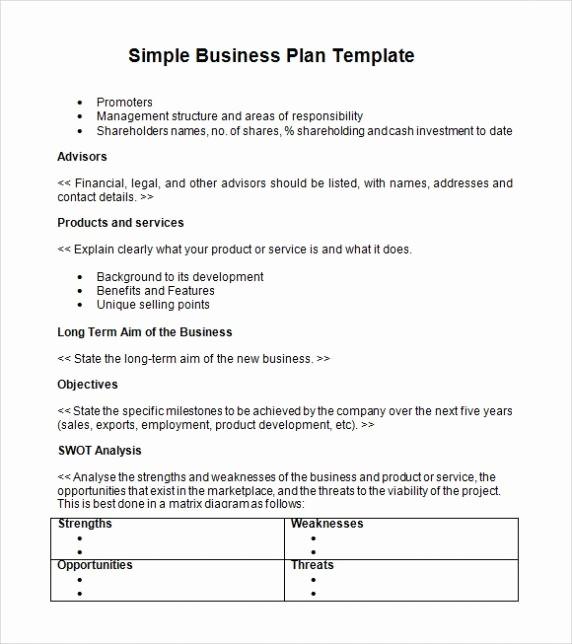 Basic Business Plan Template Free Elegant Simple Basic Startup & Small Business Plan Template Pdf