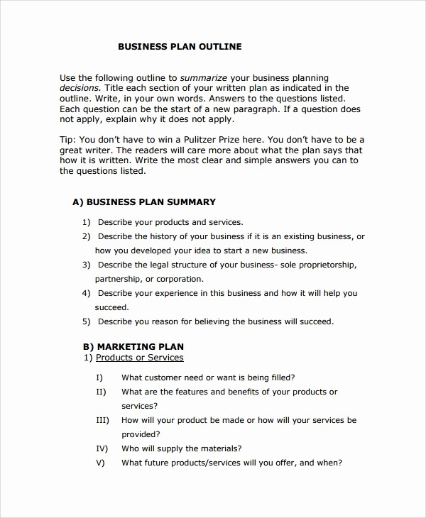 Basic Business Plan Template Free Fresh 8 Business Plan Outline Templates