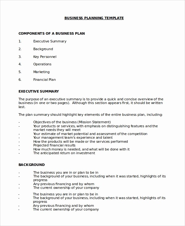 Basic Business Plan Template Free Luxury 10 Business Plan Samples In Word