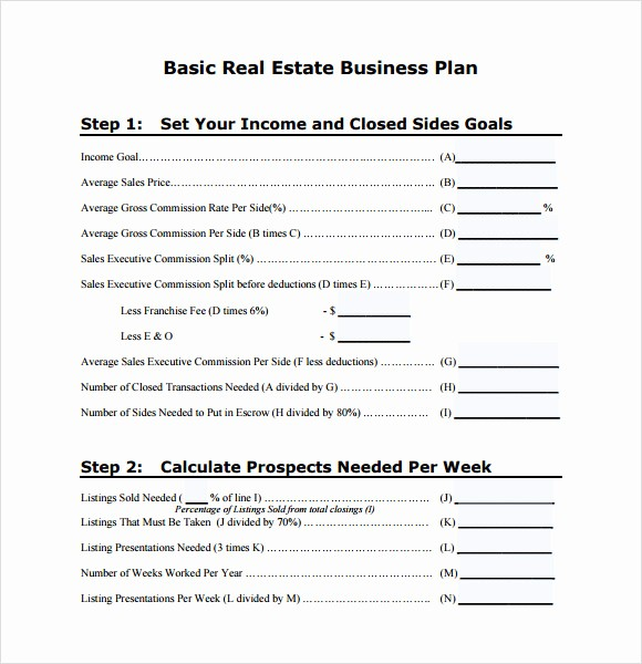 Basic Business Plan Template Free New Sample Real Estate Business Plan Template 6 Free