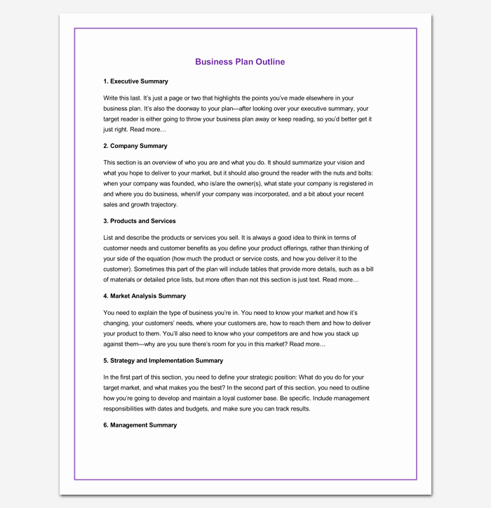 Basic Business Plan Template Free Unique Business Outline Template 20 Free Samples formats