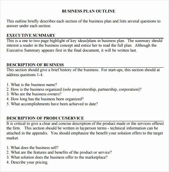 Basic Business Plans Templates Free Beautiful 11 Sample Business Plan Outline Templates to Download