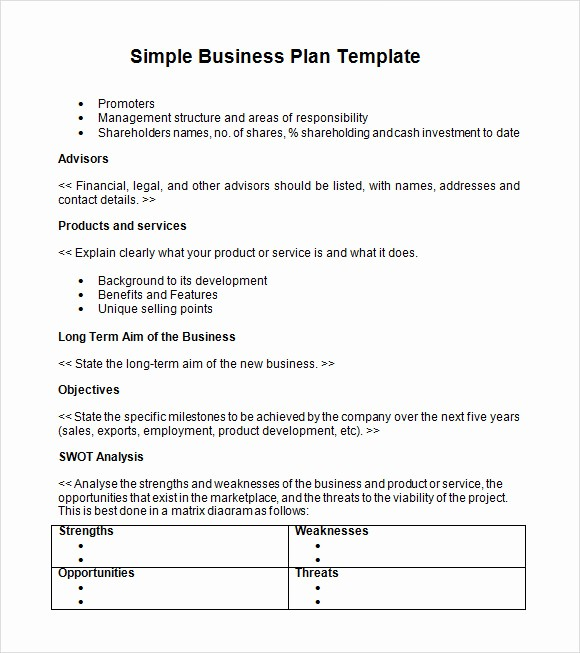 Basic Business Plans Templates Free Fresh Simple Business Plan Template 9 Documents In Pdf Word Psd