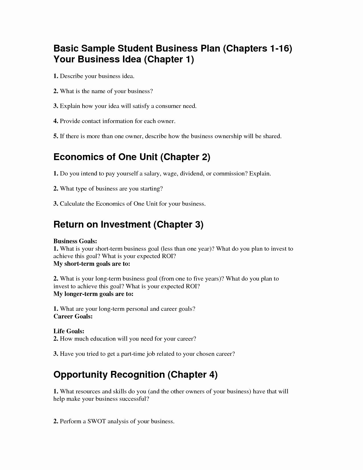 Basic Business Plans Templates Free Unique Basic Business Plan