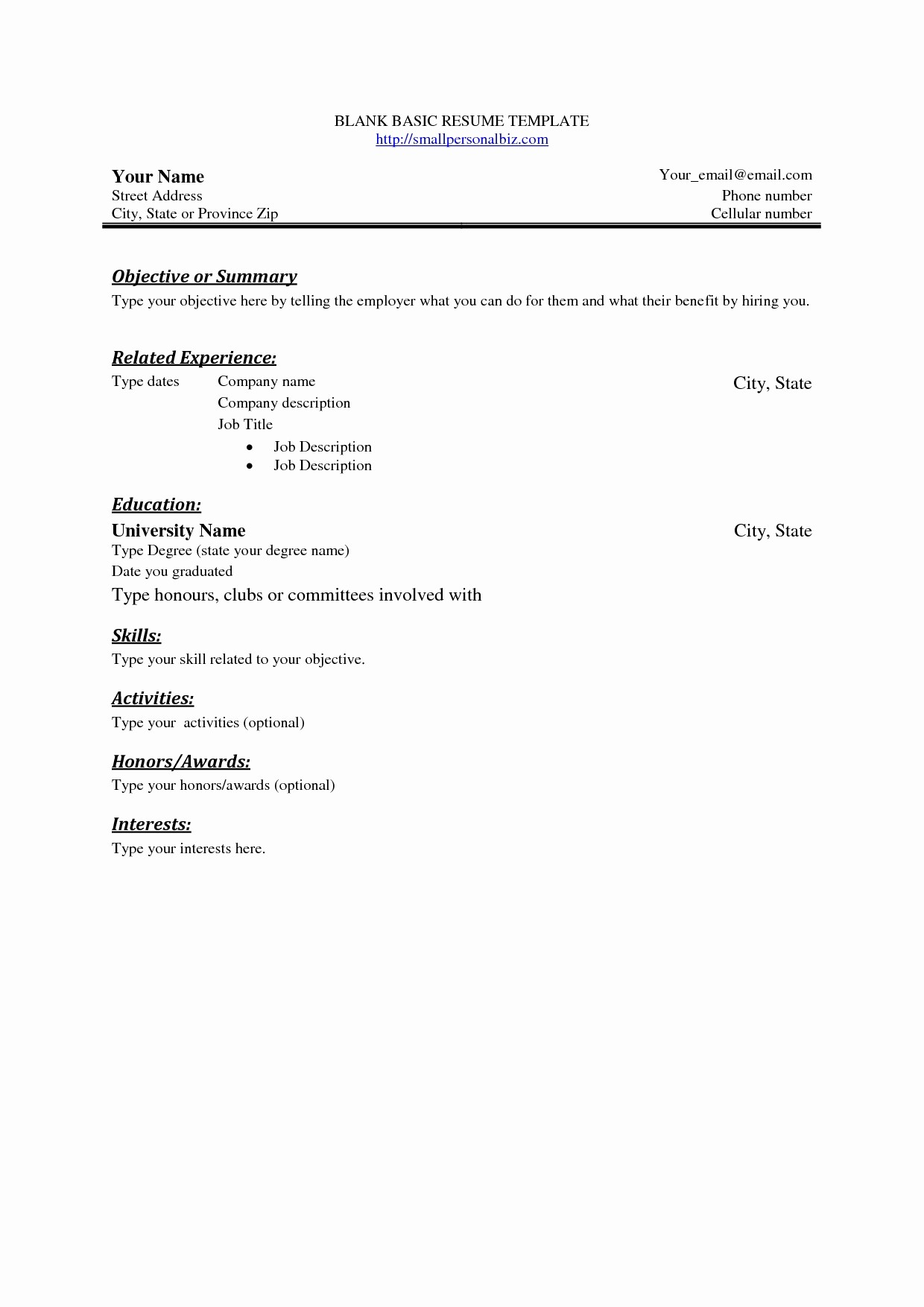 Basic format Of A Resume Awesome Basic Resume Outline Template